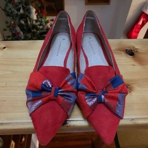 Anthropologie red bow flats